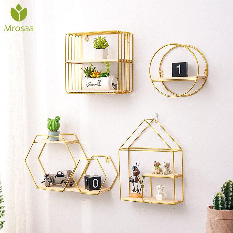 Лучшие Деревянные золотые стеллажи для хранения подвесной Декор коробка для хранения цветочный горшок дом стеллаж для хранения настенная ...