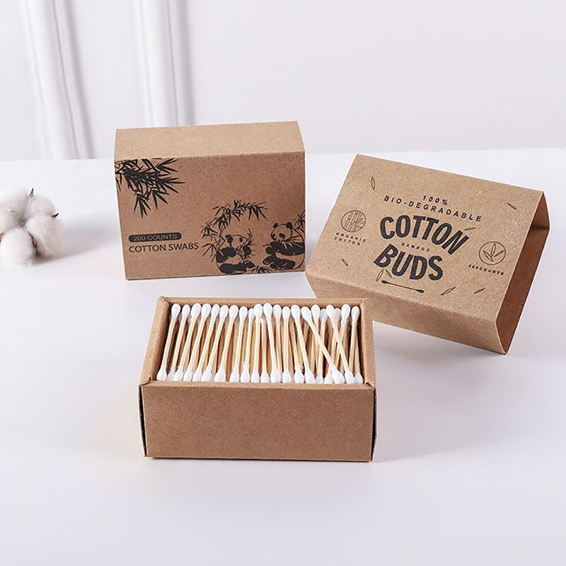 100/200PCS New Disposable Cotton Swabs Natural Bamboo Double Tipped Cotton Wood Sticks Ear Sticks Nose Ears Cleaning Tool