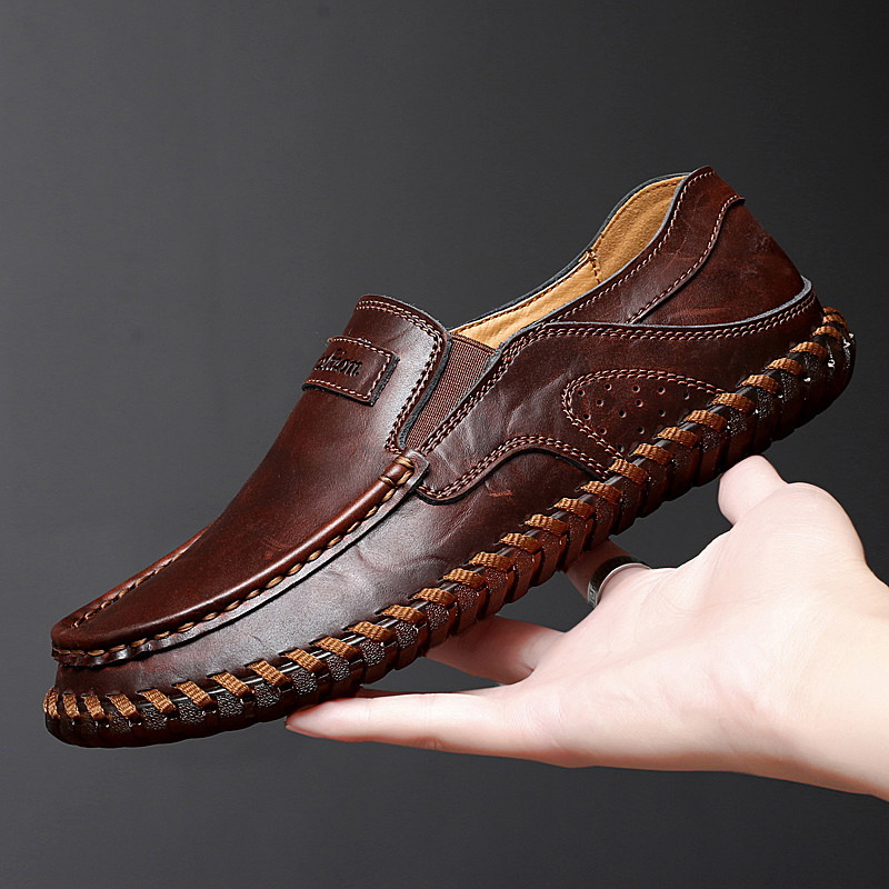 Mens Shoes Casual Leather Slip On Moccasins Footwear Man Loafers Adult Male Moccasin 2019 Autumn Spring Plus Size 47 48