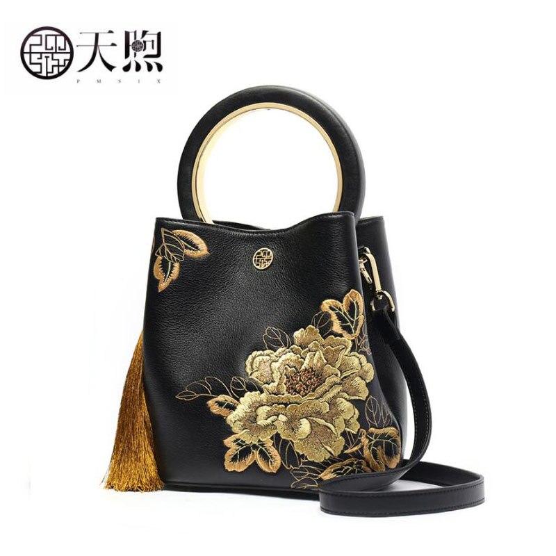 Pmsix Women Genuine Leather bag cowhide embroidery bag handbags Luxury fashion Bucket bag women leather shoulder Crossbody bag