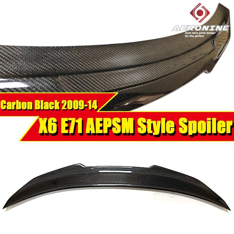 X6 E71 aileron de coffre arrière aile en Fiber de carbone PSM Style convient pour BMW X6-Series E71 noir aileron de coffre aile voiture Style 2009-14