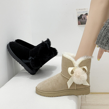 2019 New Cute Snow Boots Women Warm Fur Winter Boots Women Black White Boots Plush Suede Platform Ankle Boots Flat Heel Boots suede faux fur low heel ankle boots