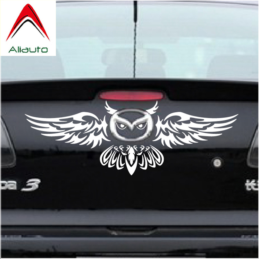 Aliauto Car Rear Logo Decoration Owl Styling Funny Car Sticker Anbd Decal For Mazda 2 3 5 6 CX-3 CX-5 CX-7 MX-3 MX-5  Axela