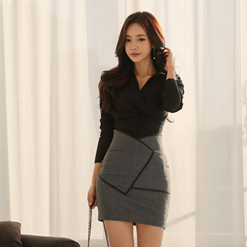 2020 Spring WOMEN'S Dress New Products Korean-style Elegant V-neck Slim Fit Shirt High-waisted Sheath Skirt Two-Piece Set Sell