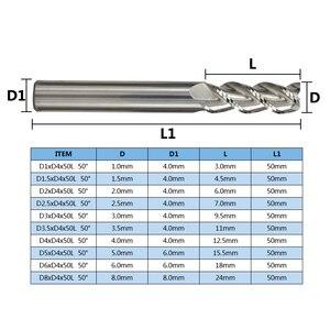 Image 2 - XCAN 3 flüt karbür End Mill 10 adet 1/1.5/2/2.5/3/3./4/5/6/8 Spiral CNC Router Bit alüminyum kesim için End freze Bit