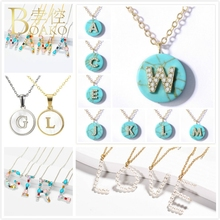 цена BOAKO Natural Stone Necklace Women Initial Letter Necklace Girl Cyrstal Pearl Necklace Shell Sweater Chain Mother Gift Collor Z5 в интернет-магазинах