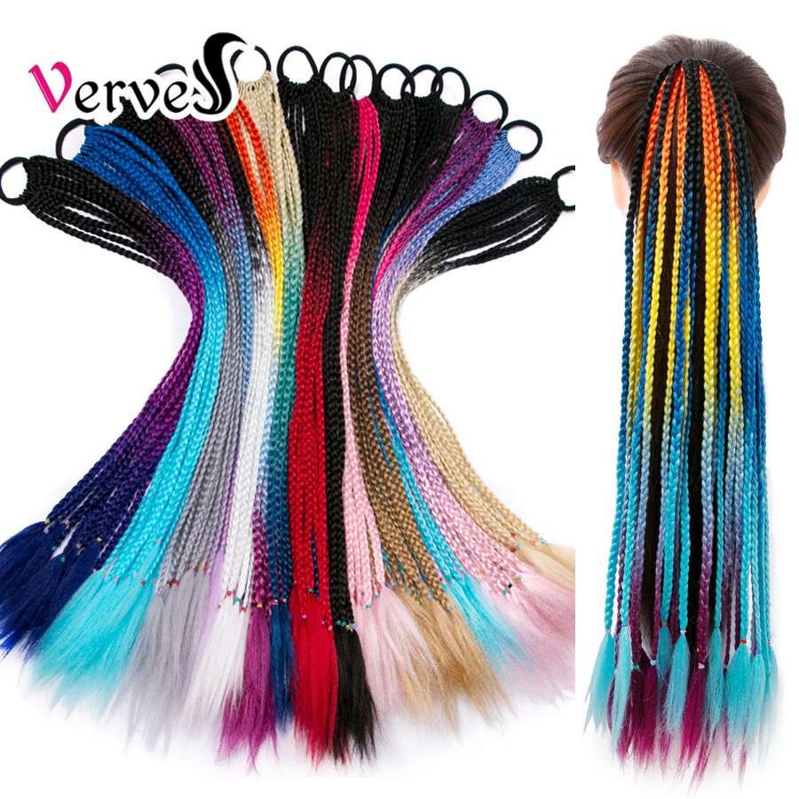 VERVES Ponytail Hairpiece With Rubber Band Hair Ring 24 Inch Crochet Braid Synthetic Hair Ponytail Hair Extension Pink,Rainbow