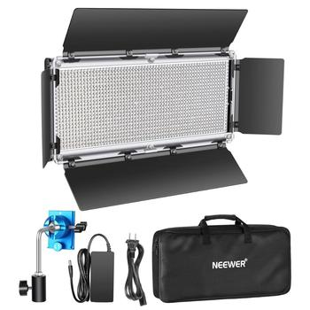 Neewer Dimmable LED Video Light Photography LED Lighting 1320 LEDs 3200-5600K Metal Frame with Barndoor+DC Adapter Battery Power