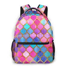Colorfu Quatrefoil Pattern Casual Daypack Travel School Bag with Pockets for College Student Boys Girls