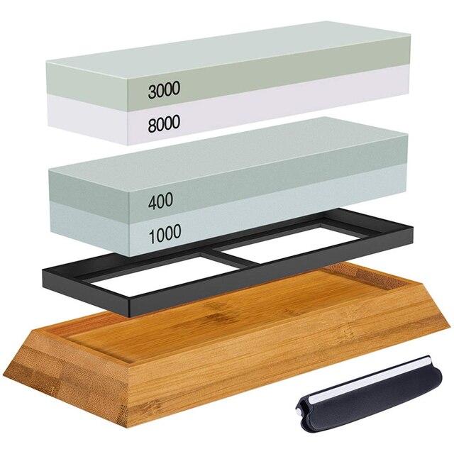 Set di pietre per affilare, pietra per affilare 2 IN 1 400/1000 3000/8000 grana, supporto IN legno Waterstone e guida per coltelli inclusi
