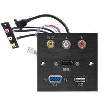"""אלומיניום סגסוגת שקע panle VGA HDMI USB וידאו R L יציאת פ""""ד שקע ריתוך תיקון הארכת לוח שחור מוברש פנל"""