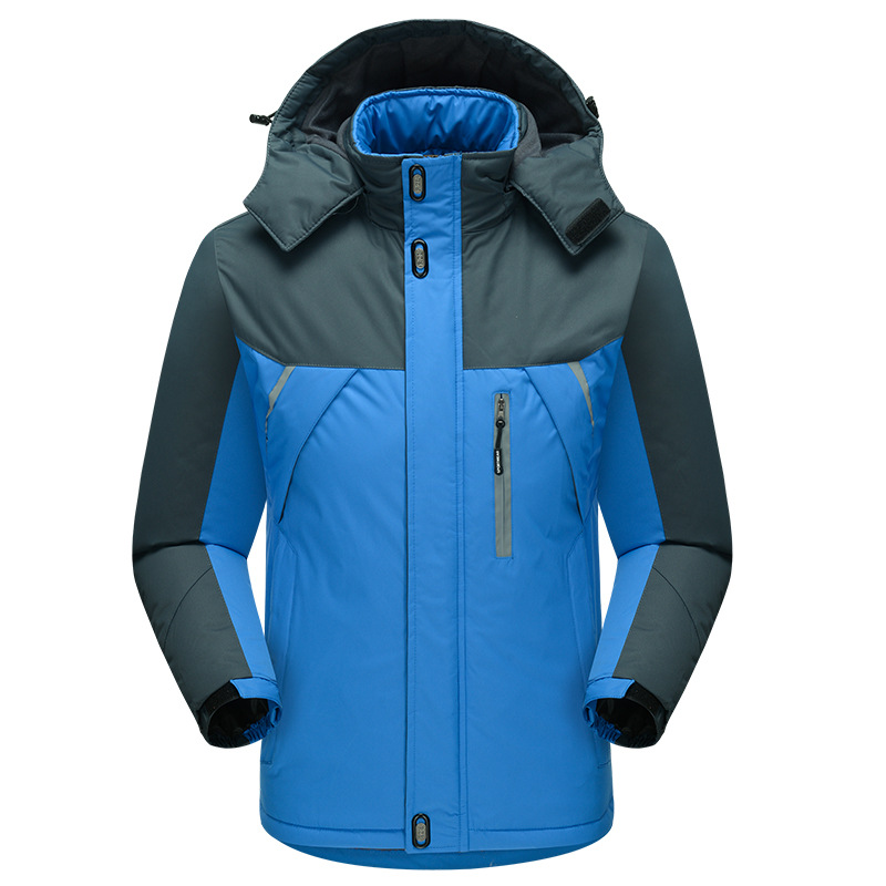 Warm Down Jacket Duck Down Winter For Men Solid Blue Overcoat With Hooded Full Sleeve Snoe-outwear Large Size 3XL 4XL 5XL