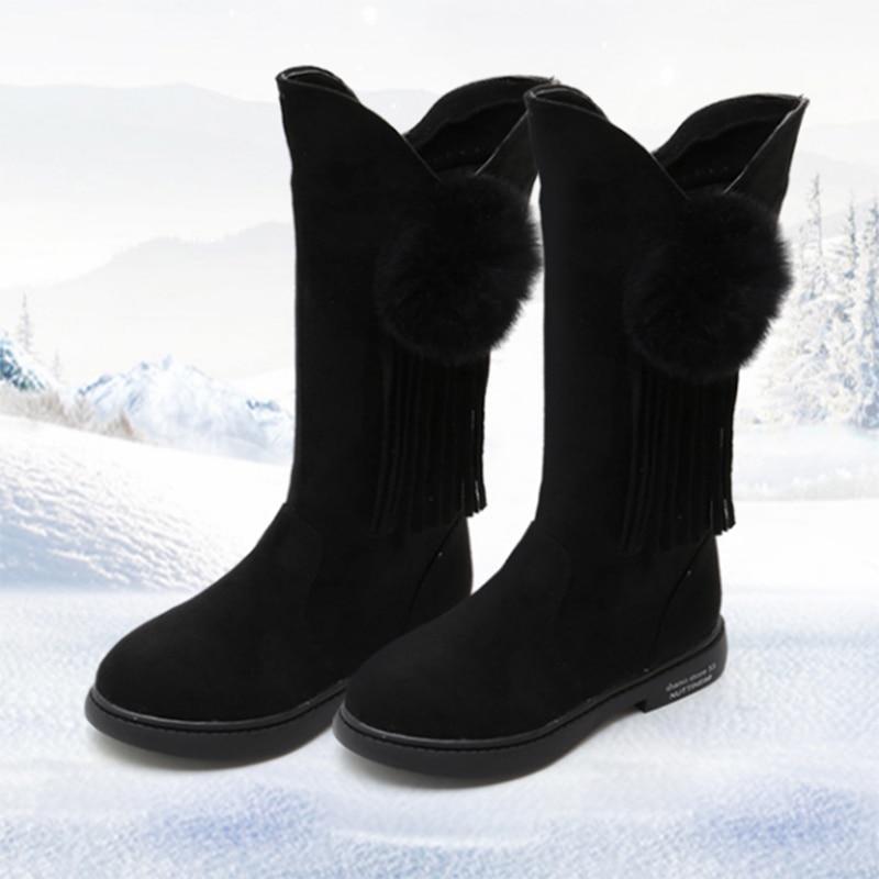 Comfykids Shoes Winter Warm Plus Velvet Girls Boots Newest Children's High Boots Wool Little Girl Princess Fashion Boots