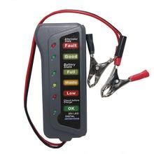 1 個ミニ 12 12v車のバッテリーテスター液晶デジタルオルタネータ 6 ledライトディスプレイシステムアナライザオートバイ検査ツール