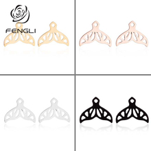 FENGLI Minimalist Stainless Steel Earrings Whale Tail Stud Earring Summer Hollow Animal Ear Womens Jewellery Drop Shipping