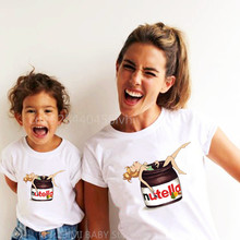 Family Matching Baby-Girl Daughter Outfits Mommy Me And Nutella Kawaii Tops