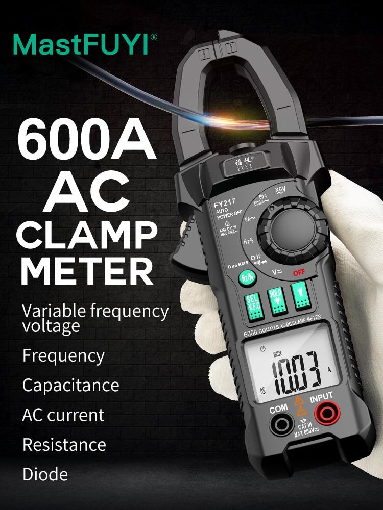 Цифровой мультиметр-зажим FUYI, тестер с функцией True RMS и NCV Ом Гц