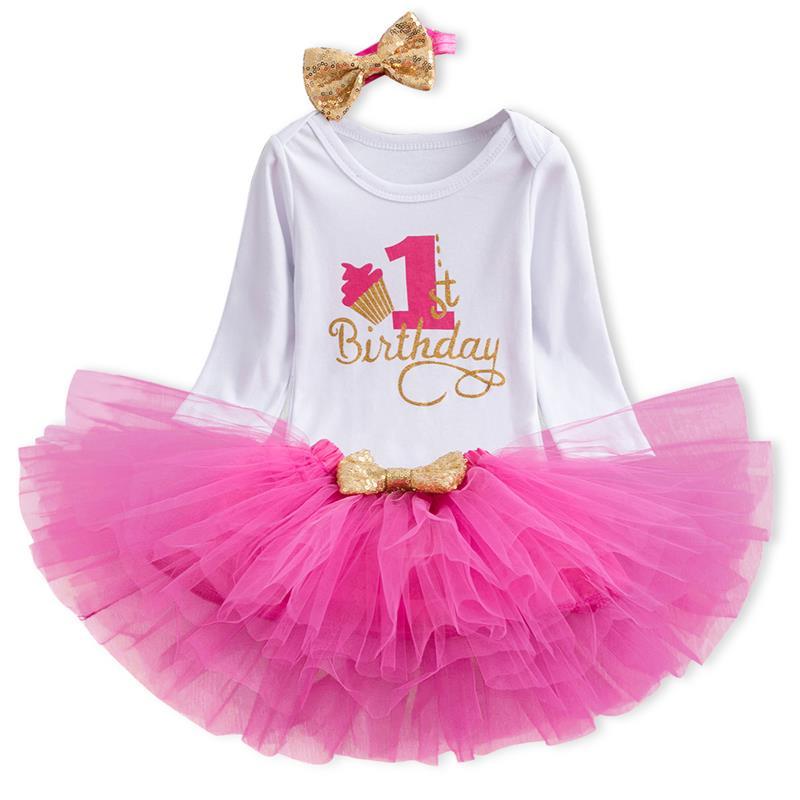 Vestito di compleanno per 1 anno del bambino della ragazza Tutu Vestito Da Partito Infantile vestito del Battesimo Neonato Battesimo Abiti Invernali Maniche Lunghe Vestiti