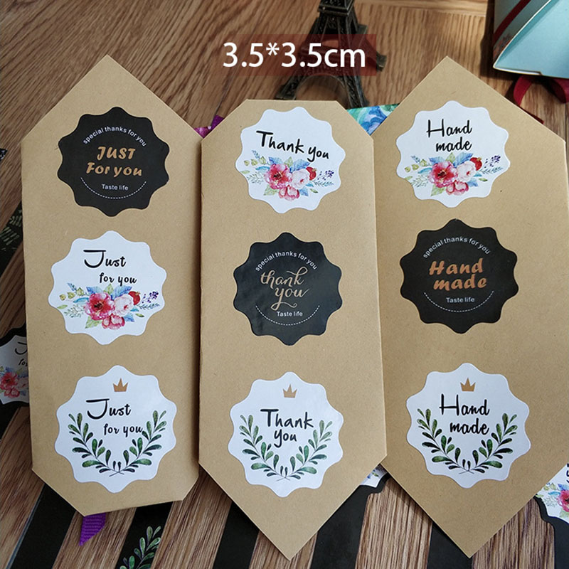 15Sheets=90Pcs Thank You Adhesive Stickers Sealing Label Stickers Handmade Paper Stickers For Gifts Girls Flowers Stickers