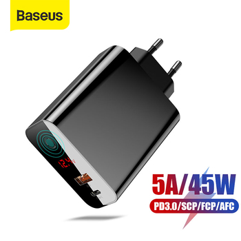 Baseus 45W LCD Display USB Charger with Quick Charge 4.0 3.0 For Redmi Note 7 QC3.0 PD Fast Phone Charger For iPhone 11 Pro Max