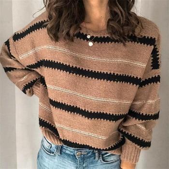 Winter 2020 New Casual Women's Sweaters Warm Autumn Striped Pullover Sweaters Sweaters Ladies Pullovers new 2015 autumn winter baby sweaters children clothing kids sweaters baby boys casual knitwear pullover