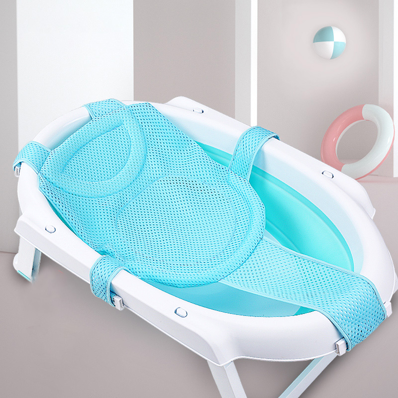 Newborn Infant Adjustable Bath Tub Pillow Seat Mat Cross Shaped Non-slip Baby Bath Net Mat Kids Bathtub Shower Cradle Bed Seat
