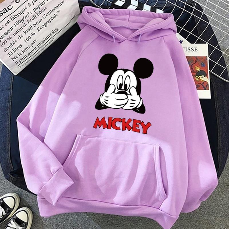 Disney Women Hoodies Minnie Mickey Mouse Hoodies Cartoon Tops Long Sleeve Pockets Sweatshirts Fashion Hooded Women 28