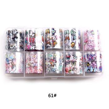 1set/lot 2.5*100cm Butterfly Spring Mix Flower Starry Sky Nail Foils set Transfer Sticker DIY Manicure Decoration Decals - 61