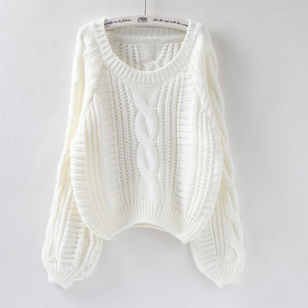 2019 Women Winter Clothes Korean Style White Pull Jumpers Solid Chic Short Sweater Twisted Pull Femme Kawaii Pullover Ropa
