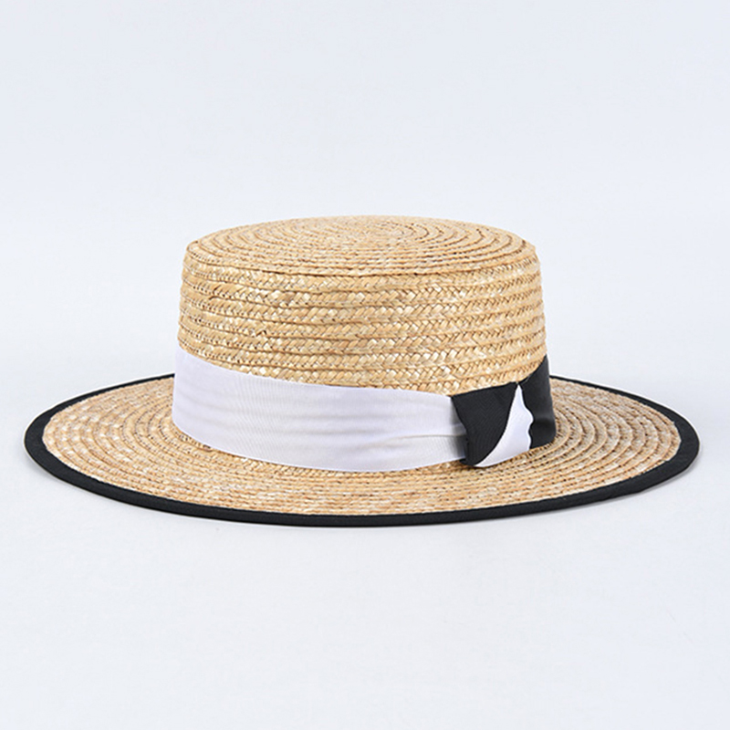 New Men Women Black And White Stitching Summer Beach Hats Straw Sun Hat Ladies Flat Top Vacation Visor Caps WHOLESALE