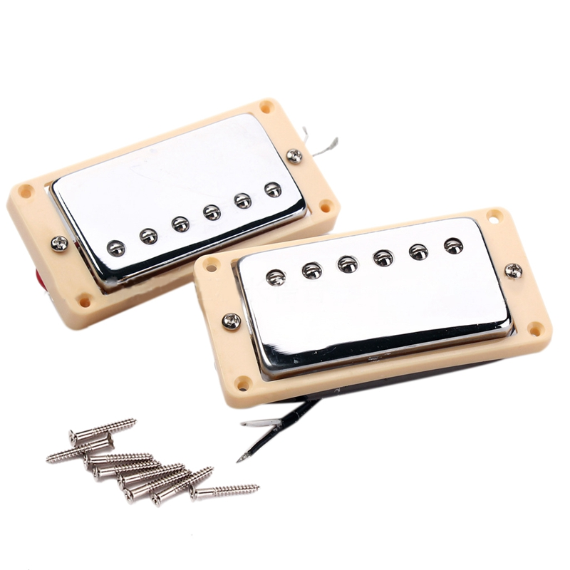 Set Of Double Coil Humbucker Pickup Electric Guitar Neck&Bridge Pickup Chrome With Yellow Frame Fit Lp Guitar