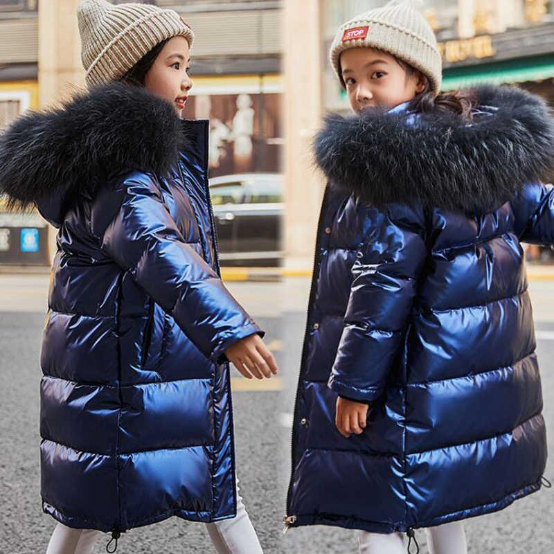 Wysokiej jakości dziewczyny zimowe ciepłe białe kurtki z puchu kaczego dla chłopców wodoodporne ubrania futro naturalne płaszcze z kapturem dla dzieci-30 parka