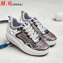 Summer Sneakers Women Hidden Heels Sport Shoes Woman Bling B
