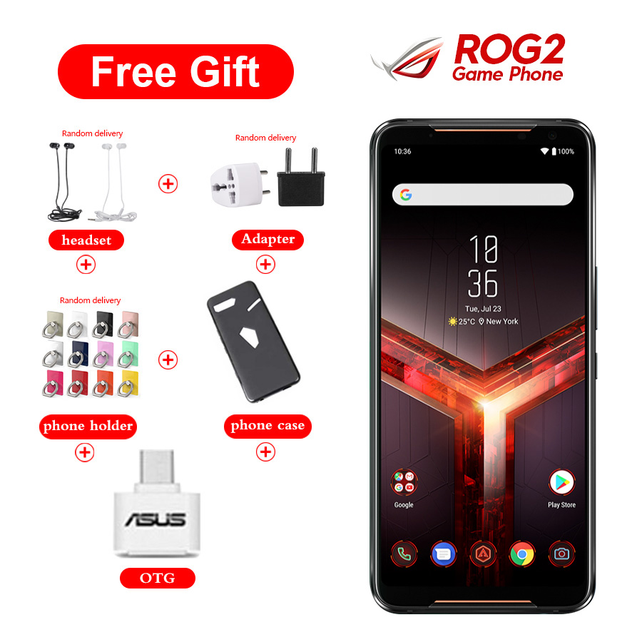 "Brand New Asus ROG Phone II ZS660KL Mobile Phone 6.59"" 8GB 128GB Snapdragon855+ Dual SIM 6000mAh 48MP NFC Android9.0 ROG Phone 2"