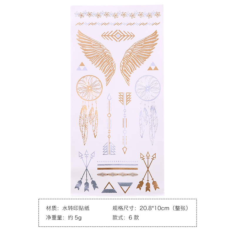 Hot stamping tattoo stickers geometric shape flash gold sexy tattoo body sticker sexy clavicle finger flower arm in Stationery Stickers from Office School Supplies