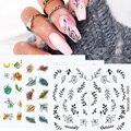 1 шт. водная наклейка для ногтей и наклейка Весна цветок лист дерево наклейка простая летняя DIY слайдер для маникюра водяные знаки для дизайн...