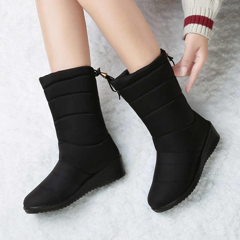 Snow Boots Waterproof Women Boots Mid-calf Boots Warm Fur Female Winter Boots Bota Women Botas Mujer Booties Women Winter Shoes