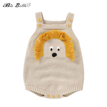 Newborn Baby Bodysuit Sleeveless Fashion Cartoon Boy Girl Sweater 0-24 Months Infant Knitted Overalls Infant Kids Outfits Baby