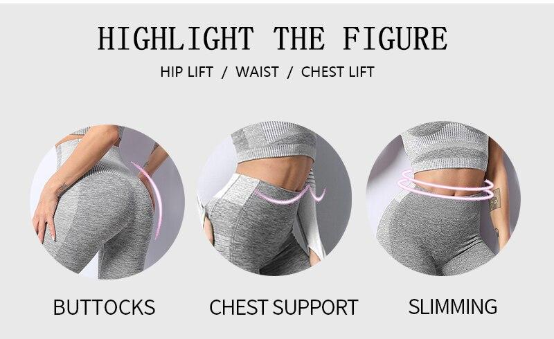 Seamless women workout gym clothing fitness long sleeve crop top. High Waist Leggings