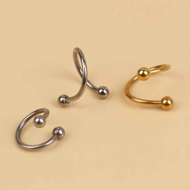 Charming Body เจาะเครื่องประดับ 1pcs แฟชั่น Spiral จมูกหูแหวนทองชุบเงิน-0047