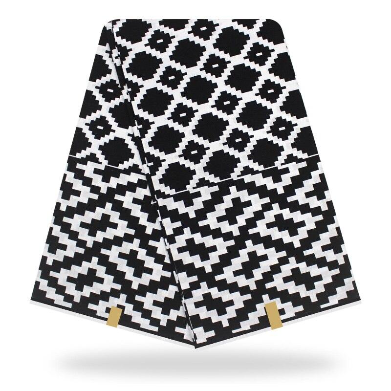 African Wax Print Fabric Black White Wax High Quality African Print African Wax Prints Nigerian Style 6 Yards/pcs 100% Cotton