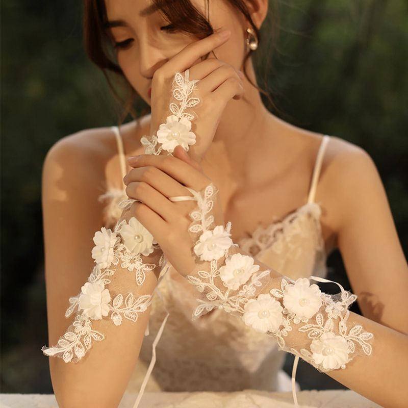 Women White Fingerless Hollow Embroidery Flower Faux Pearl Bridal Wedding Gloves