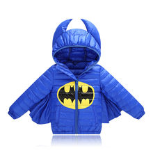 Halloween Batman Baby Boys Girls Down Jacket For Cosplay Party Autumn Winter Cotton Padding Coat With Hooded Christmas Outerwear(China)