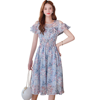 Ruffle Floral Dress Strapless Dress 2020 Summer Women Dresses Chiffon Round Neck Short Sleeve Printed Chiffon Dress 711C bohemian round collar short sleeve asymmetrical chiffon dress for women