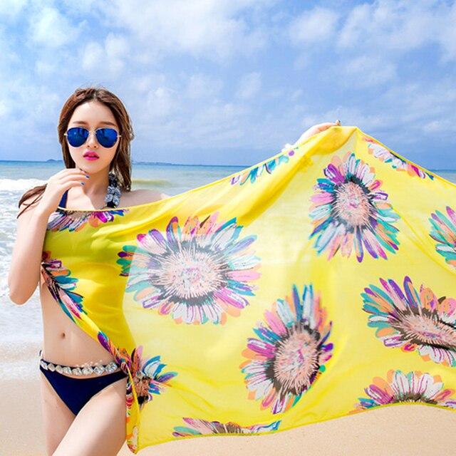 2019 Bohemian Women Summer Beach Dress Bikini Cover-ups Swim Wear Cover Up Cotton Tunic Sexy Deep V-Neck Robe Caftan 6