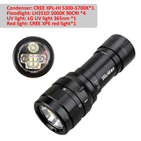 Linterna de buceo LED con Control magnético, dispositivo de luz LED Cree XPL-HI de 3000lm, 26650 USB-C, con cuatro luces LED, DL07
