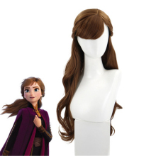 цена на New Anime Princess Anna Cosplay Wig 75cm Brown Long Curly Wavy Heat Resistant Synthetic Hair girls Costume Party Role Play Wigs