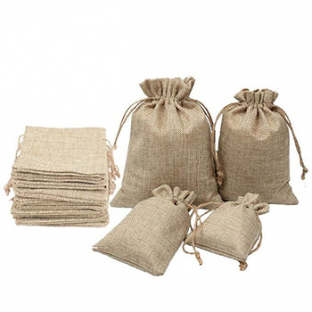 100pcs/lot Natural Jute Bags Wedding Christmas Party Favors Packaging Jewelry Pouches Hessian Burlap Gifts 17*23cm
