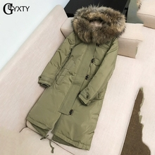 GBYXTY Waterproof Feather Parka Mujer 2019 Winter Women Real Fur Hooded Long Thick Goose Down Jacket Windproof Overcoat ZA1820