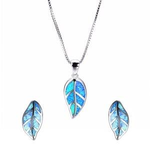 Модный Ювелирный Набор с листьями, голубой имитация огненного опала, кулон, ожерелье с серьгами для женщин, аксессуары, вечерние подарки